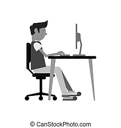 man sitting using laptop on desk design monochromatic