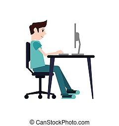 man sitting using laptop on desk design