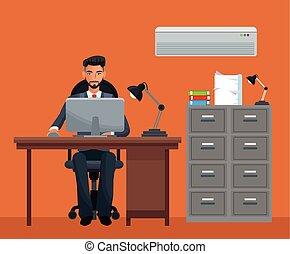 man sitting workplace cabinet file desk laptop