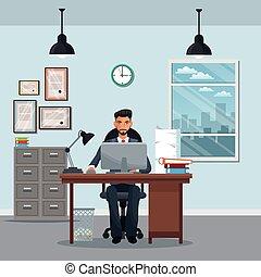 man sitting workplace cabinet file desk laptop window clock