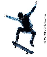 man skateboarder skateboarding silhouette - one caucasian ...