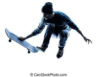 man skateboarder skateboarding silhouette - one caucasian...