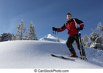 Man skiing alone