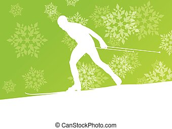 Man skiing athlete skier skiing extreme winter background...