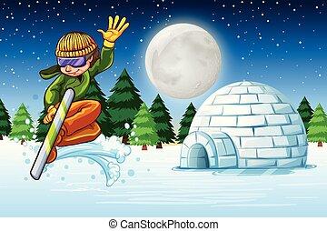 Man skiing in snow scene