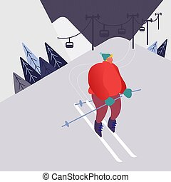 Man Skiing in the mountains. People character with skis on the snow landscape background. Winter outdoors leisure in resort, extreme sport. Vector illustration