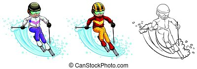 Man skiing in three different drawing styles