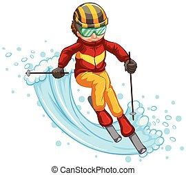 Man skiing isolated concept
