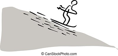 man skiing sliding from the mountain vector illustration sketch hand drawn with black lines isolated on white background