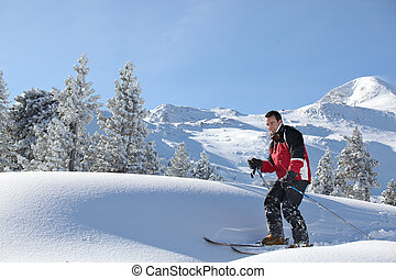 Man skiing
