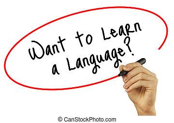 man, skriva lämna, vilja, till lär, a, language?, med, svart, markör, på, visuell, screen., isolerat, på, bakgrund., affär, teknologi, internet, concept., block, foto