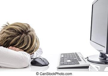 man, skrivbord, hans, kontor, sova