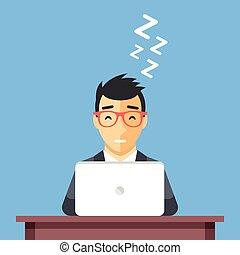 man, slapend, work., slaap, bureau