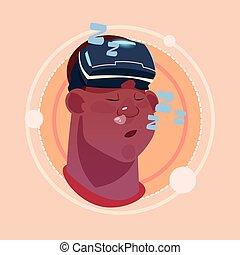 Man Sleeping African American Male Emoji Wearing 3d Virtual Glasses Emotion Icon Avatar Facial Expression Concept