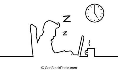 Line art animation of a man sleeping behind his desk, snoring and catching z's. A clock on the wall is ticking fast. Loopable 12s animation including alpha matte.