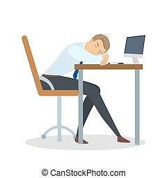 Man sleeping at office.
