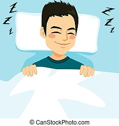 Man Sleeping Bed - Young man sleeping happy and relaxed on...