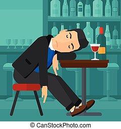Man sleeping in bar.