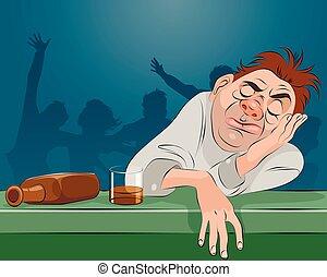Man sleeping in bar