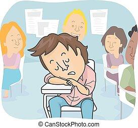 Man Sleeping in Class