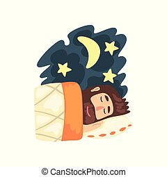 Man sleeping in his bed at night vector Illustration on a white background