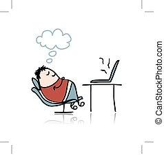 Man sleeping on armchair at workplace. Vector illustration