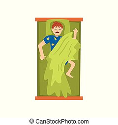 Man sleeping on his back in his bed, view from above vector Illustration on a white background