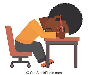 Man sleeping on table. - An african-american man sleeping on...