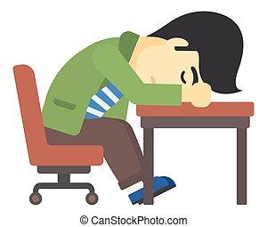 Man sleeping on table.