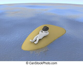 Man sleeping or relaxing on small island. 3d rendered illustration.