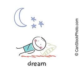 man sleeping under the stars