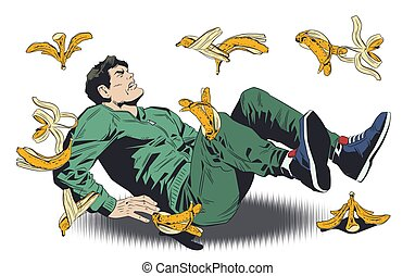 Man slipping on banana peel. Stock illustration.