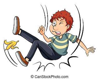 Man slipping on banana skin