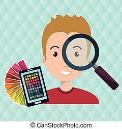 man smartphone color chart idea