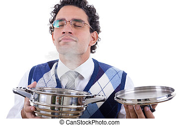 man smelling delicious lunch from pot