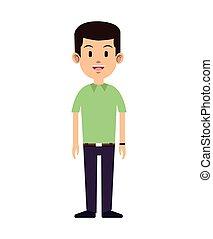 man smile work manager green shirt vector illustration eps...