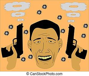Man smiling after gun battle - Face smiling expressions man ...