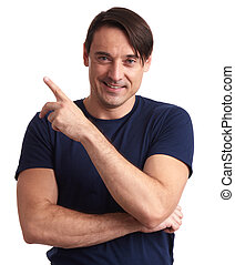 man smiling and pointing finger. Isolated