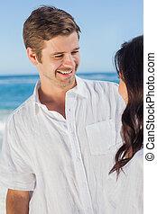 Man smiling at partner