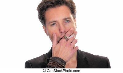 man smoking a cigarette on white