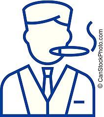 Man smoking cigar line icon concept. Man smoking cigar flat  vector symbol, sign, outline illustration.