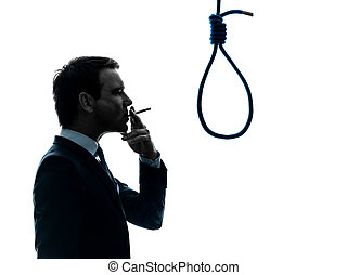 man smoking cigarette hangman noose silhouette