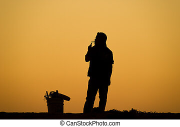 Man Smoking Cigarette Silhouette