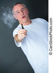 man smoking electronic sigarette