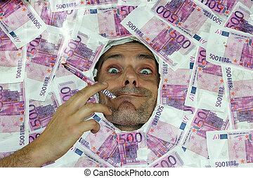 man smoking euro note
