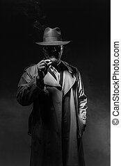 Man smoking in the dark