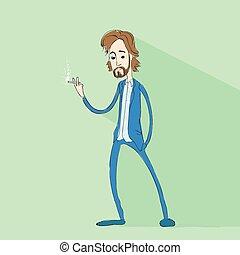 man smokling cigarette flat design vector
