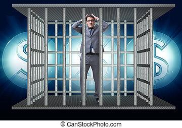 man, snärjet, in, fängelse, med, dollars