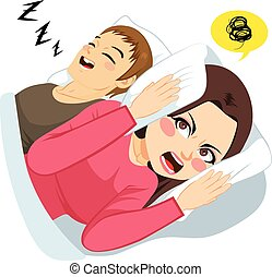 Man Snoring Noise - Woman covering ears with white pillow ...