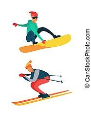 Man Snowboarding, Riding Down on Skis Winter Sport